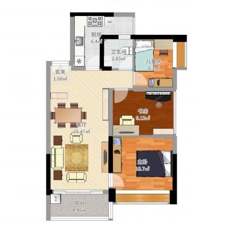 深业泰然观澜玫瑰轩3室1厅1卫1厨85.00㎡户型图