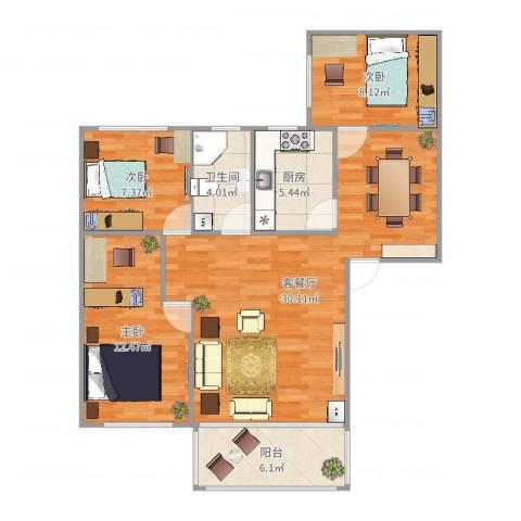 新市新街大院3室2厅1卫1厨92.00㎡户型图