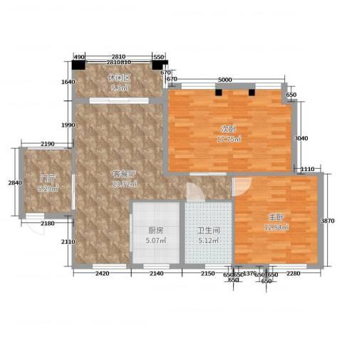 古龙-山语听溪2室2厅1卫1厨94.00㎡户型图