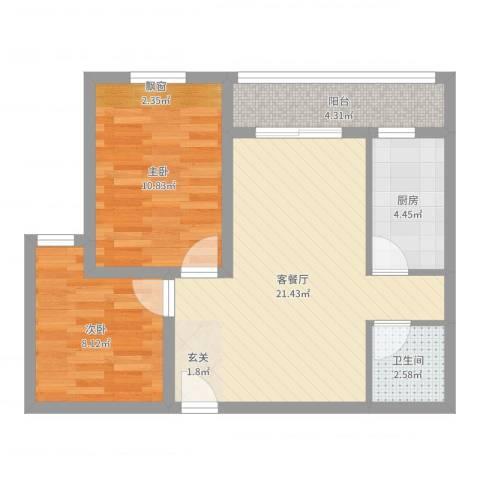 中海曲江碧林湾2室2厅1卫1厨65.00㎡户型图