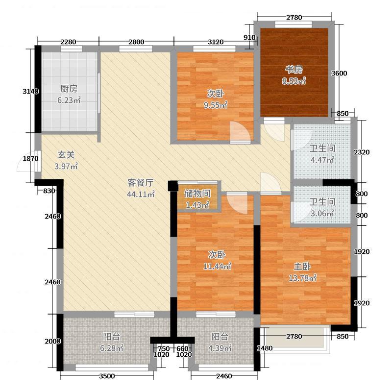 万泰国际广场檀香湾143.00㎡5#2-34层户型4室4厅2卫1厨