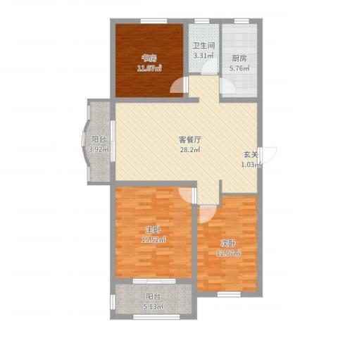 龙溪香岸3室2厅1卫1厨106.00㎡户型图