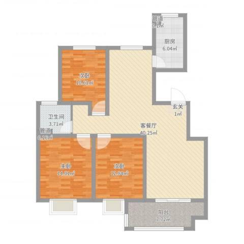 昌和时代3室2厅1卫1厨119.00㎡户型图