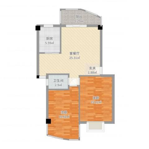 建昌99度城2室2厅1卫1厨87.00㎡户型图