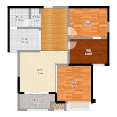 嘉龙尚都3室1厅1卫1厨94.00㎡户型图