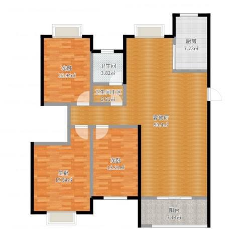 金猴北城名居3室2厅1卫1厨143.00㎡户型图