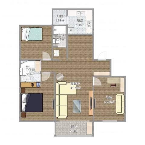平阳绿家园1室2厅2卫1厨103.00㎡户型图