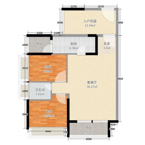 大欣城・世纪花园2室2厅1卫1厨88.30㎡户型图