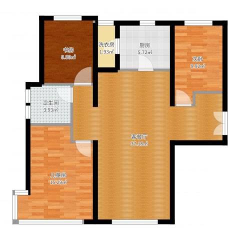 富力新城3室2厅1卫1厨101.00㎡户型图