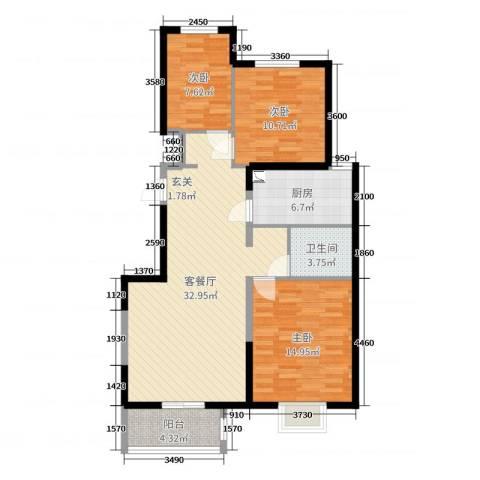 隆兴宜居3室2厅1卫1厨101.00㎡户型图