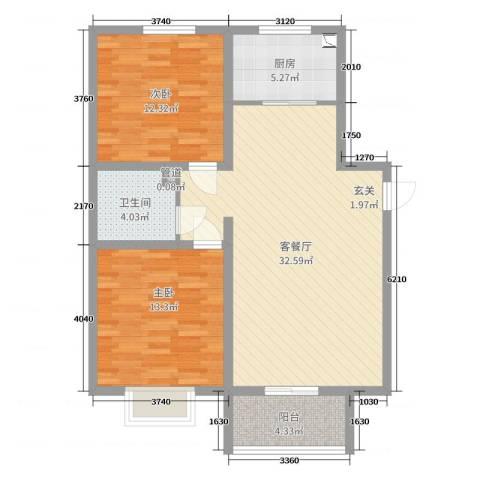 隆兴宜居2室2厅1卫1厨90.00㎡户型图