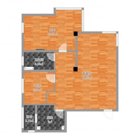 风华时代2室2厅1卫1厨104.00㎡户型图