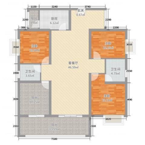 丽景湾3室2厅2卫1厨145.00㎡户型图