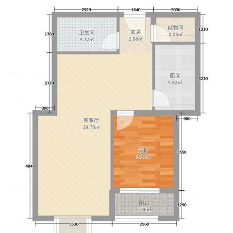 星光城1室2厅1卫1厨67.00㎡户型图