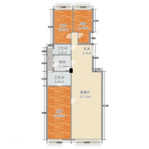 御翠湾3室2厅2卫1厨158.00㎡户型图