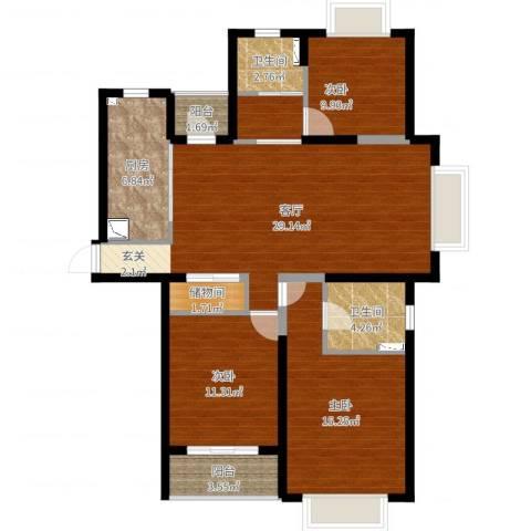 珠江香樟南园3室1厅2卫1厨108.00㎡户型图