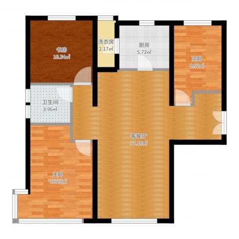 富力新城3室2厅1卫1厨104.00㎡户型图
