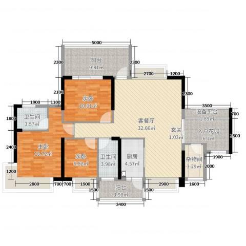 丽景湾上3室2厅2卫1厨123.00㎡户型图