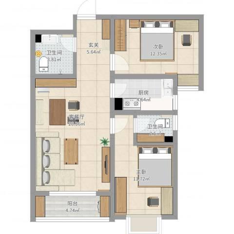 翠堤春晓2室2厅2卫1厨82.00㎡户型图