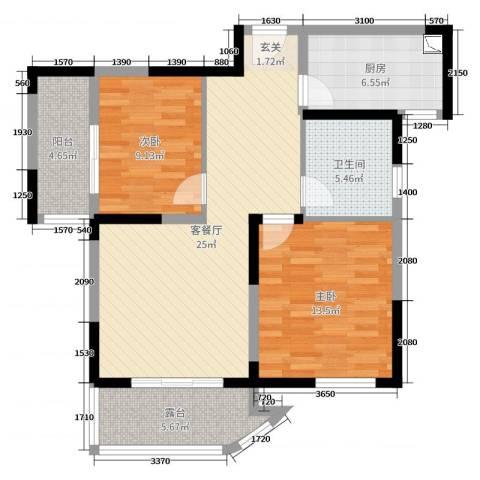 瑞安花园2室2厅1卫1厨89.00㎡户型图