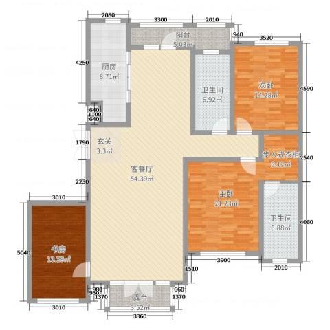 金安向日葵3室2厅2卫1厨167.00㎡户型图