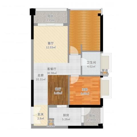 天荟公馆1室2厅1卫1厨85.00㎡户型图