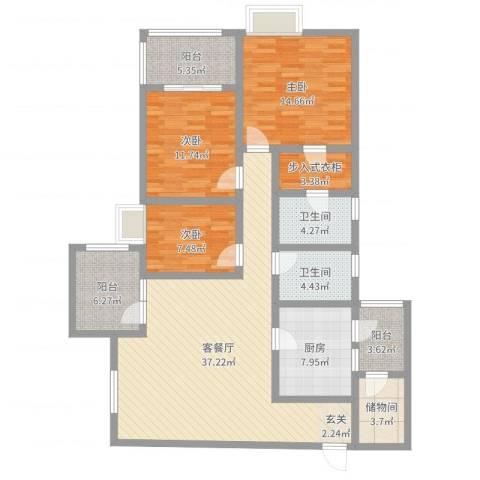 英郡二期3室2厅2卫1厨161.00㎡户型图