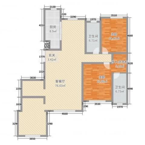 金安向日葵2室2厅2卫1厨174.00㎡户型图