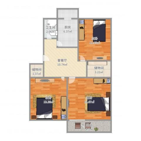 绿园小区3室2厅1卫1厨85.00㎡户型图