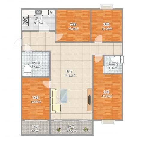 水天福苑4室1厅2卫1厨168.00㎡户型图