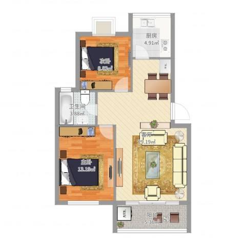 明仕丽庭2室1厅1卫1厨82.00㎡户型图