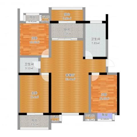 泰和小区3室2厅2卫1厨118.00㎡户型图
