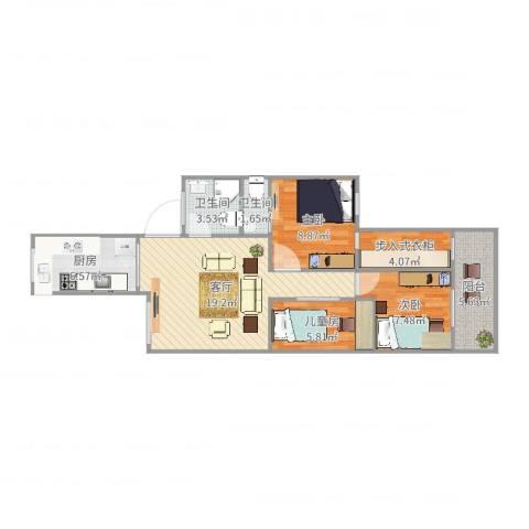 捷报花园3室1厅2卫1厨79.00㎡户型图