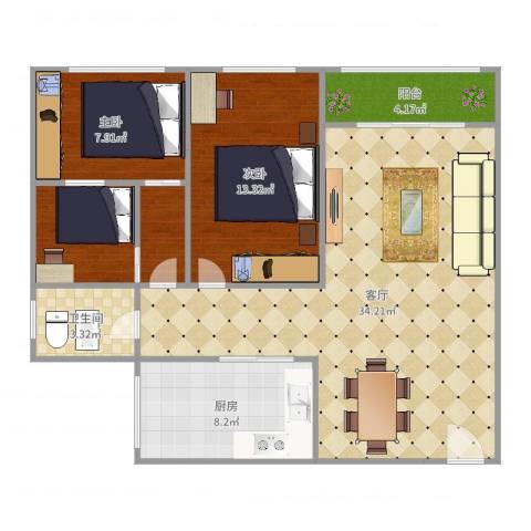 临江佳园2室1厅1卫1厨96.00㎡户型图