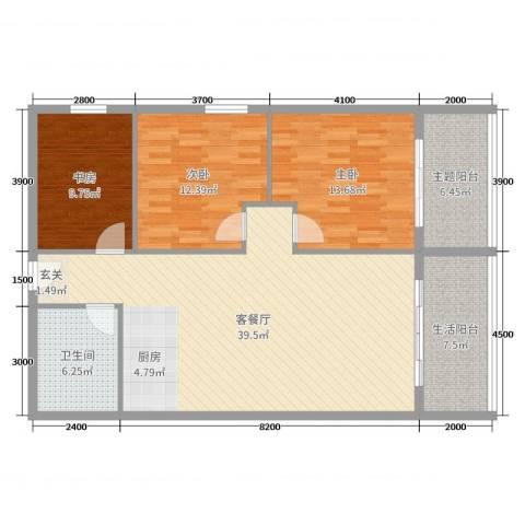 冬都大厦3室2厅1卫0厨124.00㎡户型图