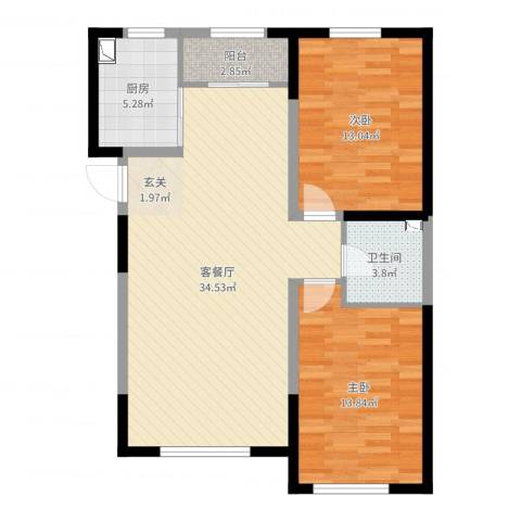 鑫城广场2室2厅1卫1厨92.00㎡户型图