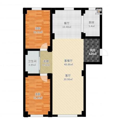 实华・新兴佳园2室2厅1卫1厨103.00㎡户型图