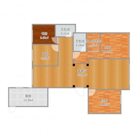 金海名园4室2厅2卫1厨166.00㎡户型图