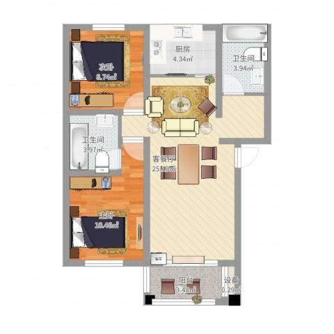 翠湖新村2室2厅2卫1厨89.00㎡户型图