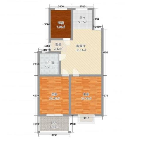 多瑙河国际公寓3室2厅1卫0厨101.00㎡户型图