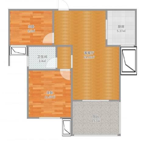 高速云水湾2室2厅1卫1厨75.00㎡户型图