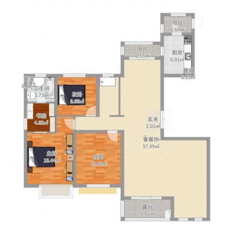 中星湖滨城凡尔赛九郡4室2厅1卫1厨151.00㎡户型图