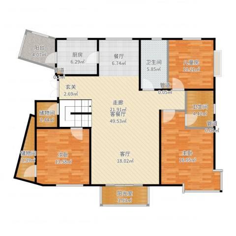 中远颐和丽园二期3室2厅2卫1厨151.00㎡户型图