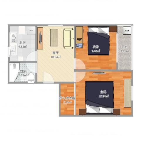 西环一村2室1厅1卫1厨58.00㎡户型图