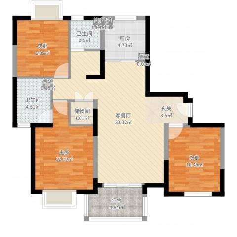 万兆东庭3室2厅2卫1厨101.00㎡户型图