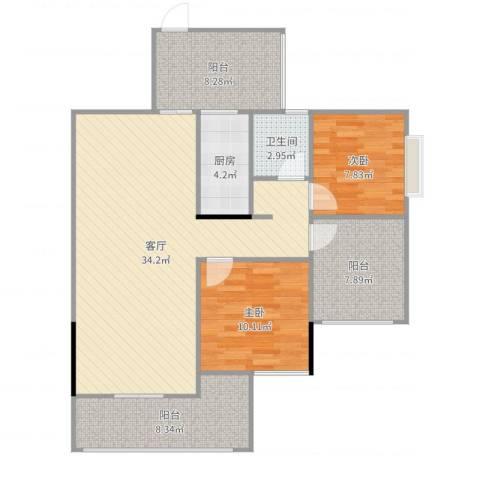 温馨家园2室1厅1卫1厨105.00㎡户型图