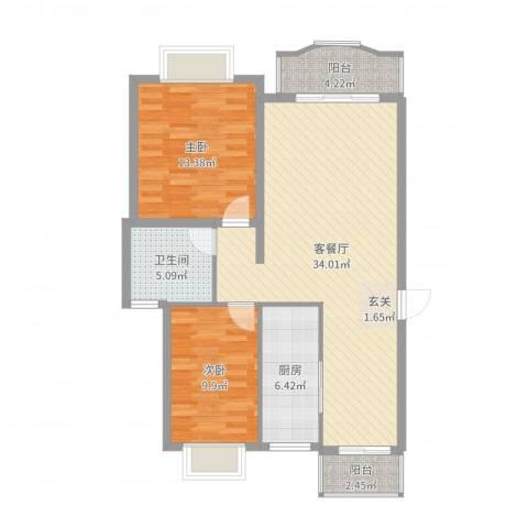 东苑新天地2室2厅1卫1厨94.00㎡户型图