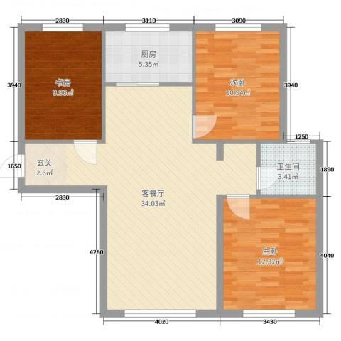 颐和花园三期3室2厅1卫1厨95.00㎡户型图