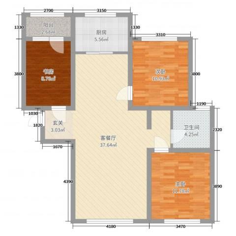 颐和花园三期3室2厅1卫1厨102.00㎡户型图