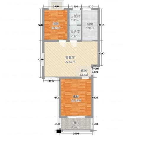 大胜广厦2室2厅1卫1厨75.00㎡户型图
